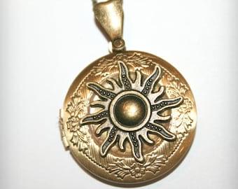 Bronze Locket Necklace with bronze big sun  - Wedding Birthday Bridesmaids Gift-Locket Personalized Jewelry Family Locket