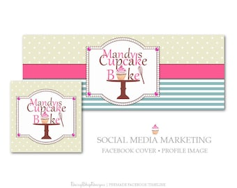 Facebook Cover,Profile Image,Social Media Marketing-Bakery,Cupcake,Cake Stand-Pink,Blue,Yellow-Facebook Storefront