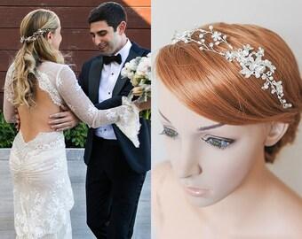 Crystal Bridal Headband, Silver, Rose Gold, Gold Flower Leaf Wedding Hair Vine, Boho Headpiece, Hair Accessories, Bridal Hair Jewelry, TAYAH
