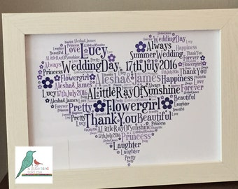 Wedding Thank You Bridesmaid / Mother of The Bride etc Personalised Word Art Gift Keepsake Print or Print and Frame