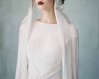 Midnight - Couture Crystal Cascading Silk Headpiece