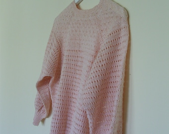Vintage retro summer knitted sweater peach rose salmon S/M size small medium