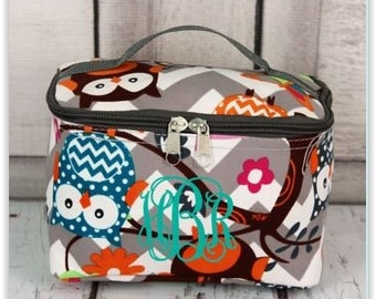Monogrammed Owl Cosmetic Bags