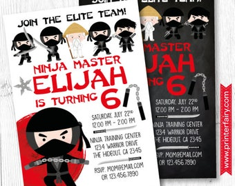 Ninja Invitation, Ninja Birthday Invitation, Ninja party Invitation, DIGITAL, 2 Options