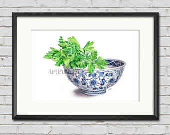 Parsley in blue and white bowl, art print of my original watercolor, vegetable art