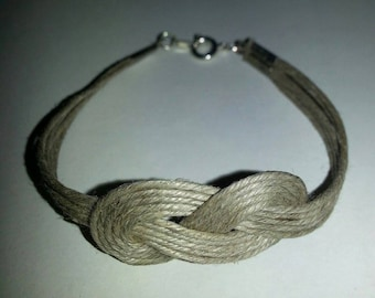 Bracelet with sailor knot in linen and silver