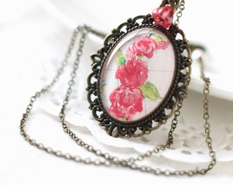 Red Roses Vintage Art Pendant Necklace - Romantic Bridesmaid Jewelry for Spring Wedding