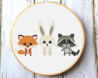 Animals Cross Stitch Pattern for baby Woodland animals nursery decor PDF Forest animals Fox Racoon Rabbit New baby Modern cross stitch X200