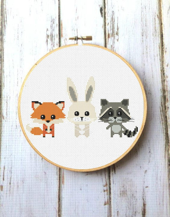 Animals Cross Stitch Pattern for baby Woodland animals nursery
