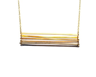 Brass ombre ladder necklace