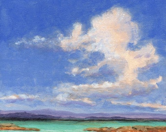 Aquamarine Sea - Original Landscape Painting Cloud 8x8 Sea and Sky Tropical Coast Beach Ocean