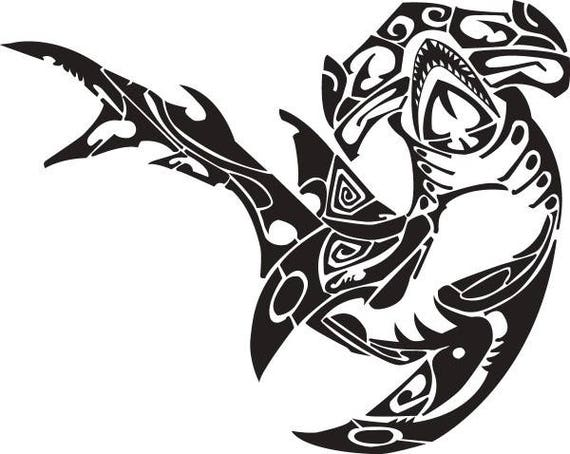 Shark 2 Hammerhead Polynesian Tribal Tattoo Design Svg Eps