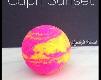 Tropical Bath Bomb - Handmade Bath Bomb - Capri Sunset Sparkle Bomb - Bath Fizzy