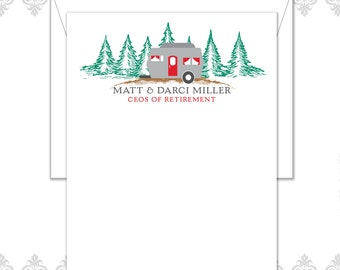 Camper Retirement Stationery Set of 10 with envelopes, Retirement cards, CEO of Retirement, mountains, scenery, retirement gift, camper