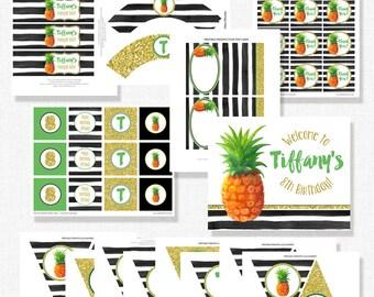 Pineapple Birthday, Printable Birthday Party Package, Pineapple Party Decor, Pineapple Party, Gold Pineapple, Black and White Stripe