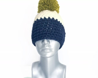 Navy and Cream Chunky Beanie with Pom, Green and Blue Crochet Hat, Striped Winter Beanie With Puff, Navy Blue Pom Pom Knit Hat, Cream Ski Ca