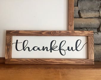 "thankful | 24""x9"" Wood Sign 