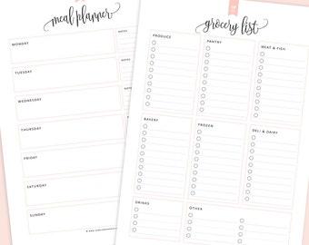 Meal Planner U0026 Grocery List Printable, Menu Planner Printable, Shopping  List Printable, Meal