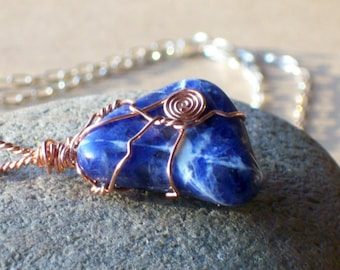 Blue Stone Pendant - Sodalite Necklace - Copper Wire Wrapped - Healing Crystal Necklace - Blue Gemstone - Wire Wrap - Chakra Necklace