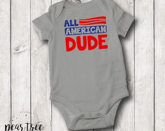 All American Dude - baby bodysuit - red & blue vinyl - 4th of July