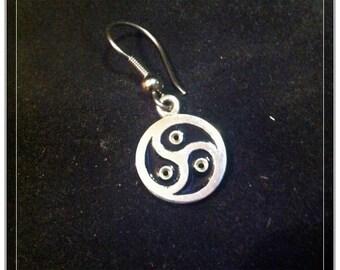 BDSM Symbol Earrings, Dominatrix Earrings, Sterling Silver, Black Enamel, Through Holes, dangle style, 2 pcs, for Submissive, for Domina