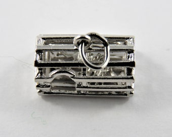 Lobster Trap With Lobster Caught Inside Sterling Silver Charm of Pendant.