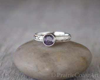 Amethyst Ring in Sterling Silver - Handcrafted Silver Amethyst Ring - Sterling Silver Amethyst Stacking Ring - February Birthstone Ring