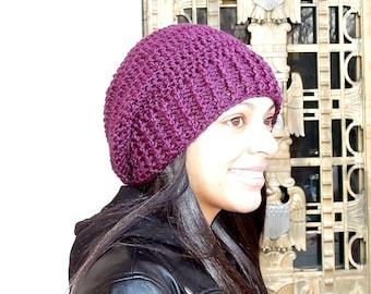 Crochet Slouchy Hat, Women, Men, Teen, Tam,  Adult, Grape, Ribbed,