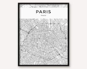 Paris Map Print, Paris Print, Paris Wall Art, Paris Poster, Black and White Map of Paris, Paris City Map, Paris Printable, France Print