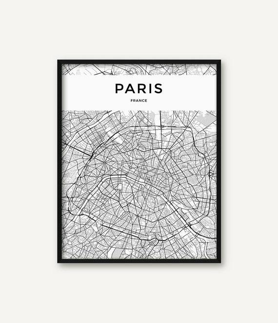 Paris map print paris print paris wall art paris poster