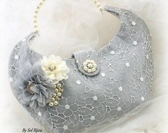Silver Wedding Purse Gray Ivory Wedding Handbag Lace Purse Bridal Purse Bridal Bag Wedding Bag with Pearls