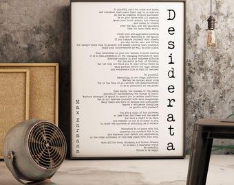 Art Print Framed Desiderata, poem print minimalist poster, Max Ehrmann Framed Art Literary Poster, literary quote print, motivational poster