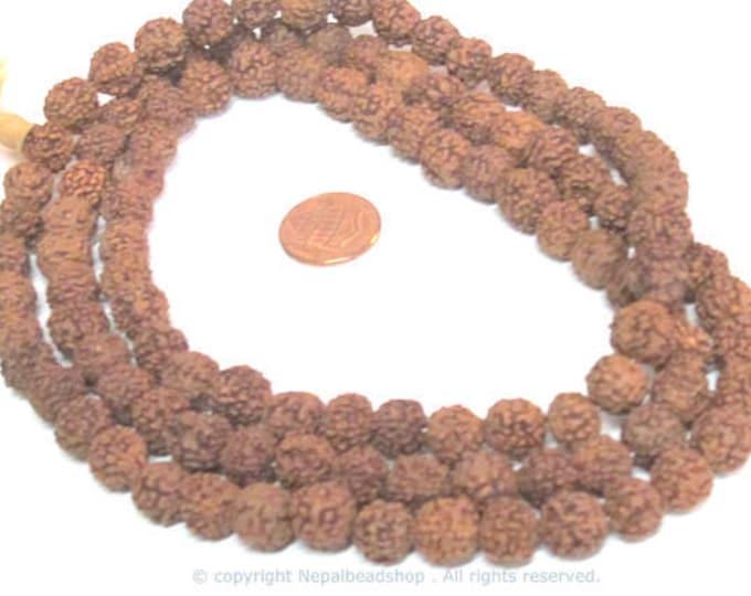 108 mala beads supplies - Natural Rudraksha seed beads from Nepal 10 mm -tibetan mala supplies  ML072A