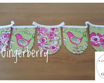 LIMITED EDITION!! Gingerberry Shabby Chic Bunting - aqua Pam Kitty garden flowers floral roses and Laura Ashley Watermelon gingham