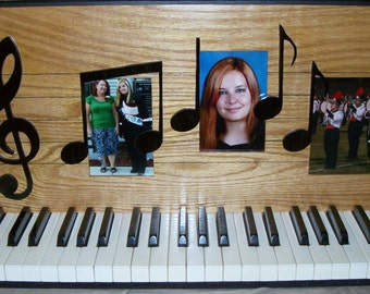 Piano Keys With Music Notes Picture Display - Picture Frame Holds 3 4X6 Photos