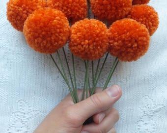 Carrot Yarn Pom Pom Flowers: Set of 12