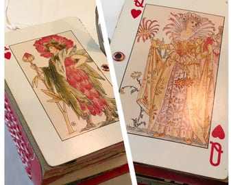 King and queen of hearts junk journal, playing card journal, junk journal