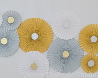 Gold and Silver, Modern Mixed Metallics, Set of 10 (ten) Paper Rosettes