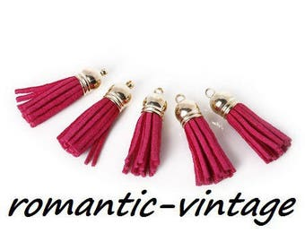 2 pendants suede fuchsia and gold tips 38mm