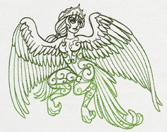 Alkonost - Divine Femme - Embroidered Flour Sack Hand/Dish Towel