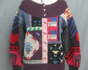 """Vintage 80s Kitschy UGLY SWEATER  Handknit all Wool Oversized  Bust 42"""""""