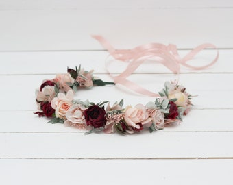 Blush pink mint burgundy flower crown Floral headpiece Bridal hairpiece Wedding wreath Marsala Flower girl Bridesmaid Maternity photoprops