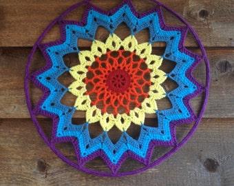 Rainbow Crochet Mandala Dreamcatcher Homedecor Dream Catcher Handmade Wall hanging***SALE***
