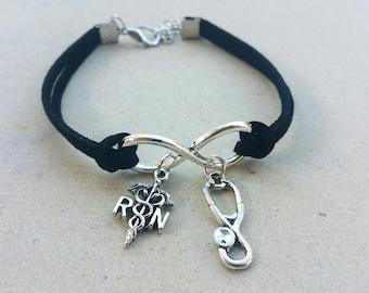 RN Stethoscope Medical Nurse Infinity Bracelet