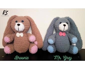 "10"" Velveteen RABBIT GREY BROWN gray bunny long ears chocolate cute amigurumi crochet plush softie playground baby gift newborn girl boy"