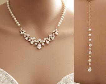 Rose Gold Backdrop Necklace, Bridal Back Necklace, Crystal Pearl Wedding Necklace, Rose Gold Wedding Necklace Back Bridal Jewelry, Nicole