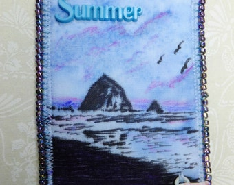 Tiny Art Quilt ATC Seasonal Art Quilt Summer on the Beach Haystack Rock