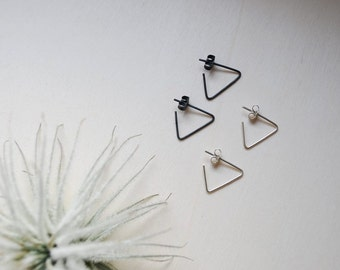 Sterling silver Minimalist Triangle earrings, 14k gold rose, mom gift for her, everyday earrings geometric, mother gift from daughter
