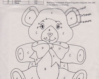 Cameo Inc Cotton Stamped Fabric Bear -- Embroidery Punch Needlework Craft