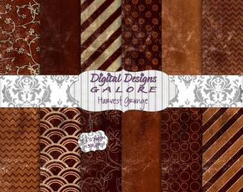 Harvest Grunge Digital Paper Pack Set of 12 - Fall, Autumn, Brown, Orange 12 x 12 Digital Papers - Digital Designs Galore